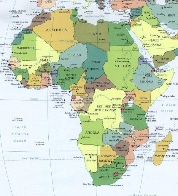L Africa Cartina Geografica.Bats Web La Geografia Del Bats Cartina Politica D Africa