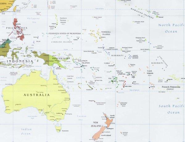 Cartina Fisica Dellindonesia.Bats Web La Geografia Del Bats Cartina Politica D Oceania