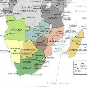 Cartina Africa Sud.Bats Web La Geografia Del Bats L Africa Meridionale
